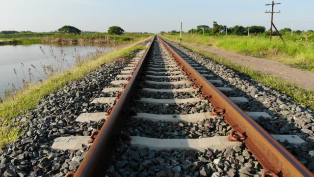 railroad track - railroad track stock videos & royalty-free footage