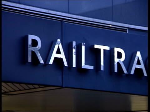 railtrack pay rise row; lib england: london: ext railtrack chief executive steve marshall speaking lib cms sign over entrance to railtrack house lib... - stephen marshall director stock videos & royalty-free footage