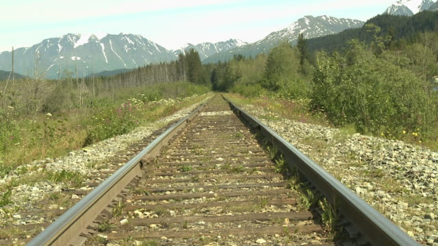 """railtrack shot straight on leading into forest, with snow capped mountains in background, between seward and homer, kenai peninsula, alaska."" - kenai stock videos & royalty-free footage"