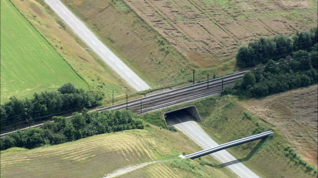 railway bridge - aerial view - capital region, gentofte kommune, denmark - capital region stock videos and b-roll footage