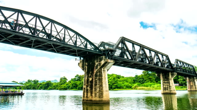 railway bridge over the river kwai, kanchanaburi, thailand, time lapse video, low-angle view - stainless steel stock videos & royalty-free footage