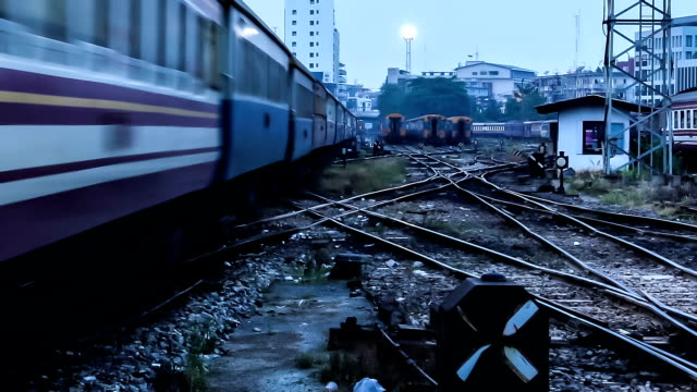railway junction at twilight,time lapse - railway junction stock videos & royalty-free footage
