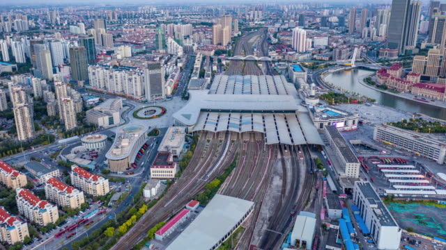 railway station aerial hyperlapse view - railway station stock videos & royalty-free footage