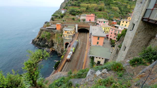 Railway station in the Cinque Terre(Riomaggiore), National Park. Italy.