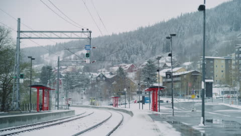 railway station in the snow - hill stock videos & royalty-free footage