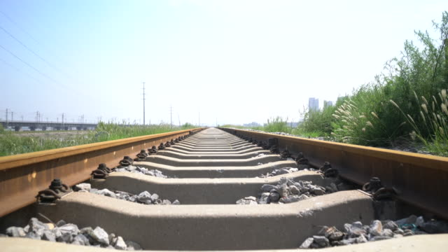 railway track, diminishing perspective - vanishing point stock videos & royalty-free footage