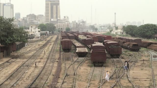 railway tracks in a slum area of karachi an elevated view shows railway tracks near the business and financial hub in karachi karachi cantonment... - sindh pakistan stock videos and b-roll footage