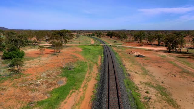 railway train track in rural australia - rail transportation stock videos & royalty-free footage