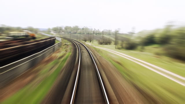 Railway train travel - time lapse