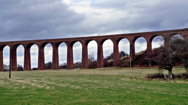 railway viaduct, nairn, scottish highlands, uk, panning right to left - engineering stock videos & royalty-free footage