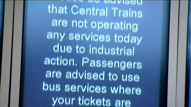 central trains strike; england: london: int general view of electronic customer information boards in railway station close up sign explaining that... - strike industrial action stock videos & royalty-free footage