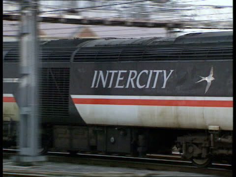 Railways performance levels fall ITN Leeds MS Sign on side of train Intercity PAN RL as past along platform