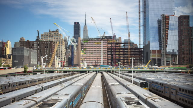 railyard and construction sites in manhattan - time lapse - crane stock videos & royalty-free footage