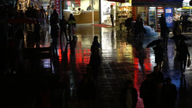 rain and people at the night - istanbul stock videos & royalty-free footage