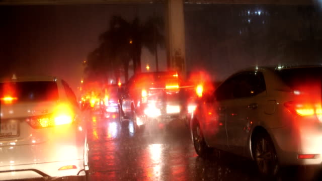 Rain and Traffic at Night on the Road