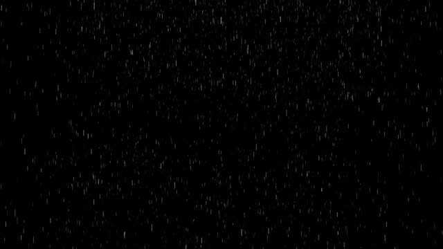 rain animation on black background overlay alpha channel - pioggia video stock e b–roll