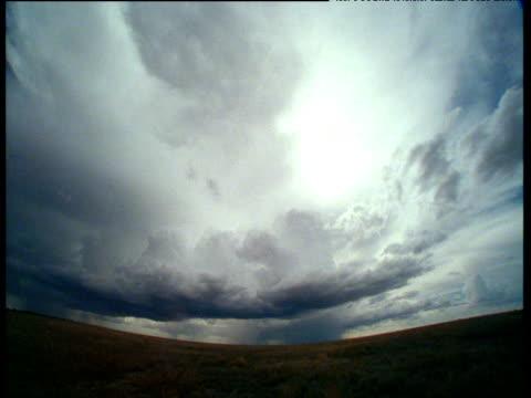 Rain clouds form and rain pours down onto savanna