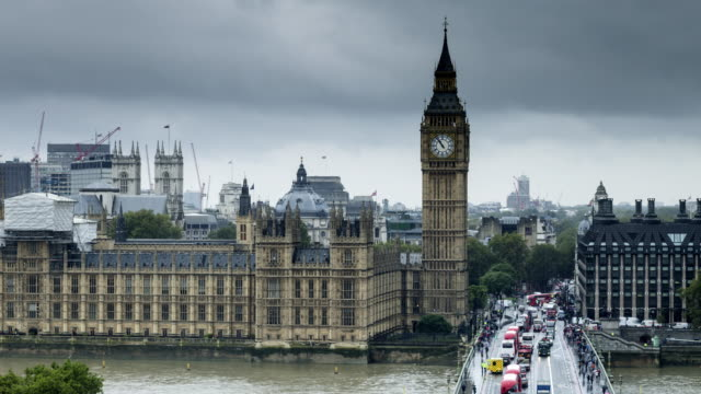 Rain clouds over the Westminster Bridge and the Houses of Parliament.