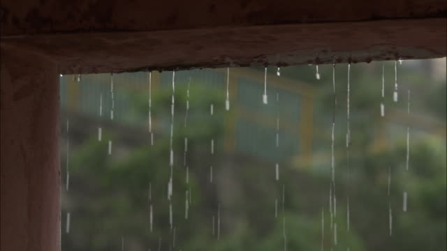 Rain drips from roof, Devprayag, India Available in HD.