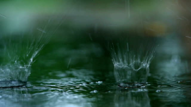slo mo cu rain drop on road, big splash - rippled stock videos & royalty-free footage
