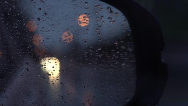 rain drop with fog outside glass car. - headlight stock videos & royalty-free footage