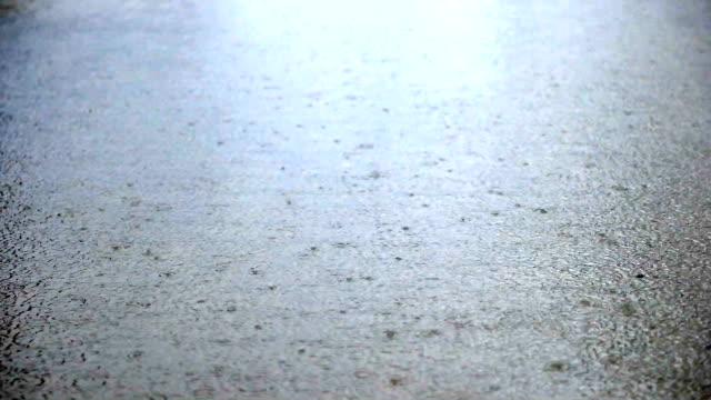 SLOW MOT - Rain drops falling into ground, slow motion