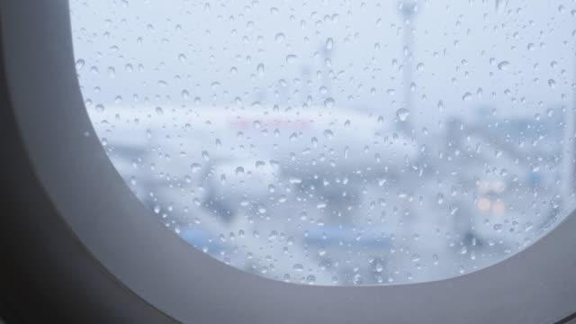 Rain Drops on an Airplane Window