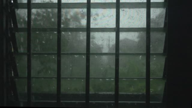 rain fall at window super slow motion - persiana caratteristica architettonica video stock e b–roll