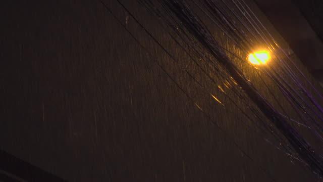rain fall in city at night - power cable stock videos & royalty-free footage