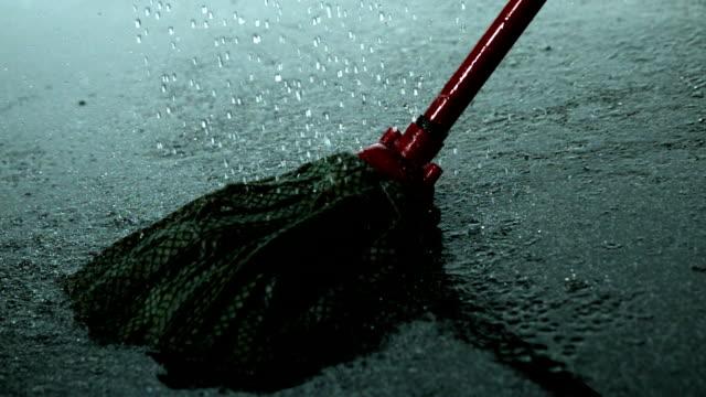 Rain falling on a mop