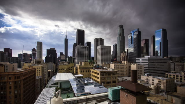 rain falling on downtown los angeles - time lapse - weather stock videos & royalty-free footage