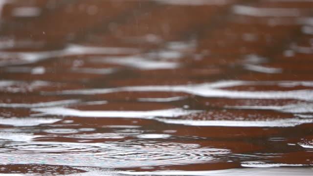 slo mo rain falling on pavement - meteorology stock videos & royalty-free footage