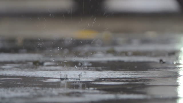 slo mo rain falling on pavement. - gray color stock videos & royalty-free footage