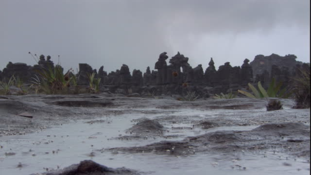 Rain falls on the rocky landscape of Auyantepui summit. Available in HD.