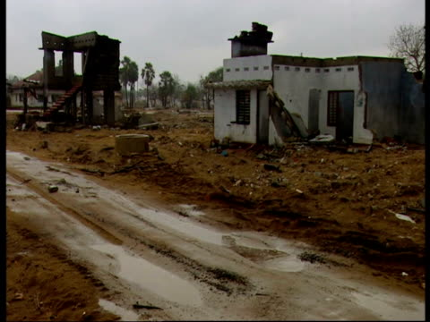 Rain falls on the ruined buildings of Mullaitivu following the 2004 Indian Ocean Tsunami