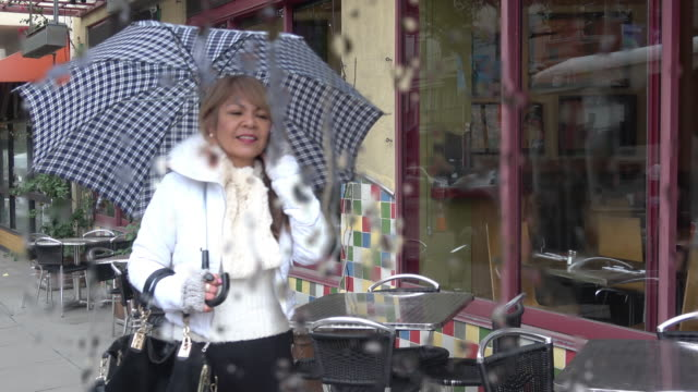 rain in the city. attractive woman with an umbrella is walking down the street talking on her mobile phone. - north beach san francisco stock videos & royalty-free footage