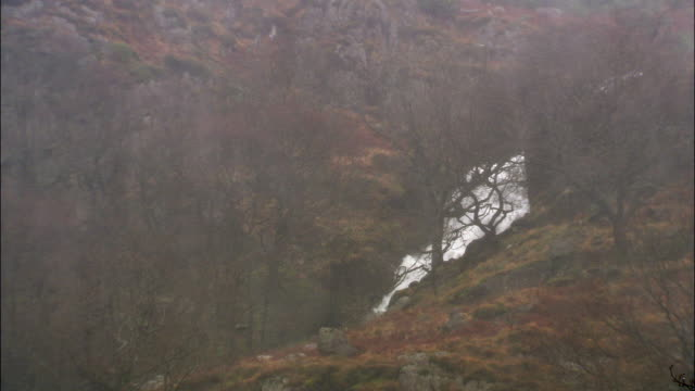 rain lashes down onto waterfall on mountainside, uk - torrential rain stock videos & royalty-free footage