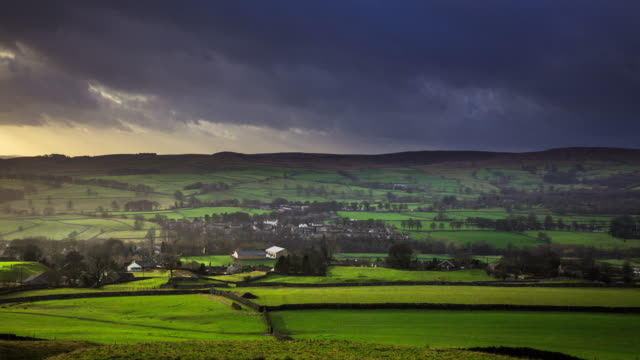 rain moving in over grassington, north yorkshire - time lapse - yorkshire england stock videos & royalty-free footage
