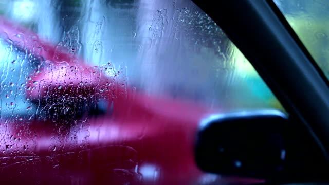rain on car window - monsoon stock videos & royalty-free footage