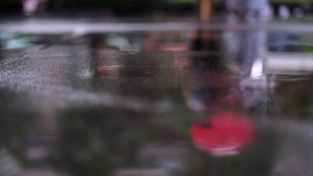 rain on floor with blur people walk - sidewalk stock videos & royalty-free footage