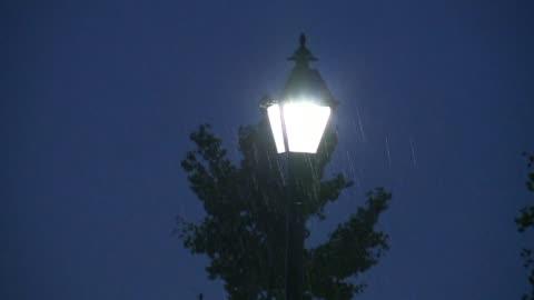 rain on light post at night - indiana stock videos & royalty-free footage