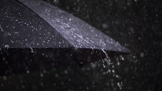Rain on umbrella, close-up
