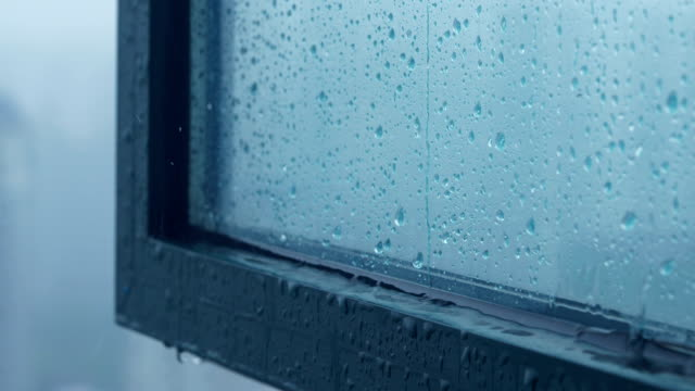 rain pooling from window condensation - condensation stock videos & royalty-free footage