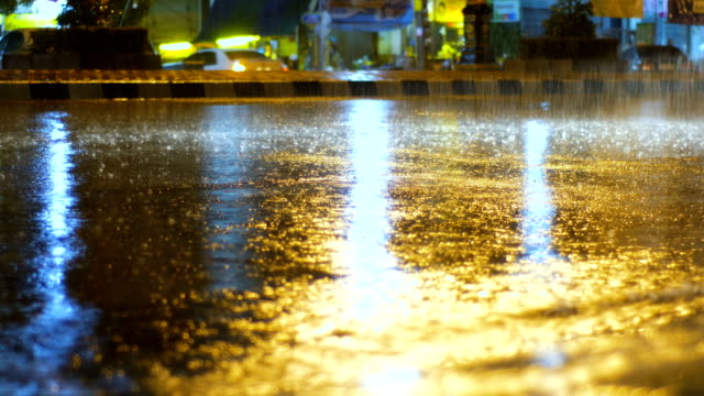 Rain puddles and falling drops with traffic lights at night