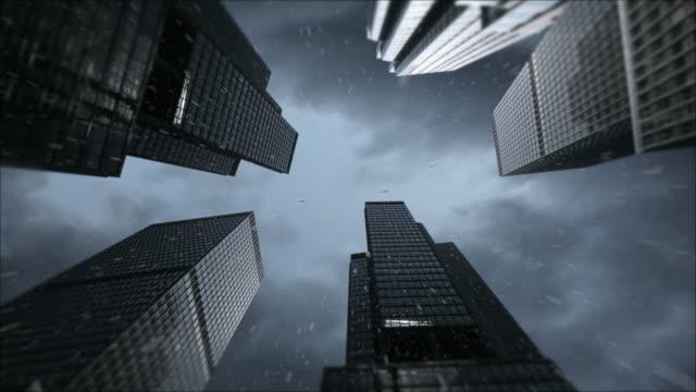 Rain storm in the city 4K