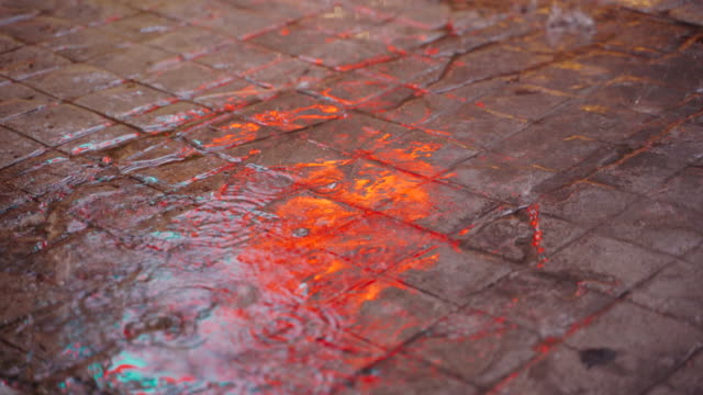 rain water is falling on the pedestrian floor. - pavement stock videos & royalty-free footage