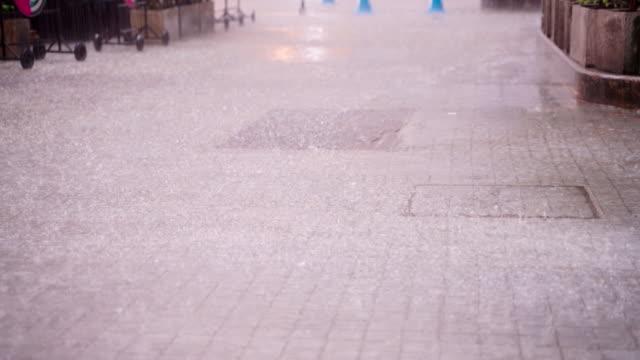 rain water is falling on the pedestrian floor. - washing stock videos & royalty-free footage