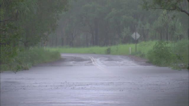 zo rain water moving rapidly down a flooded street / northern territory, australia - flood stock videos & royalty-free footage
