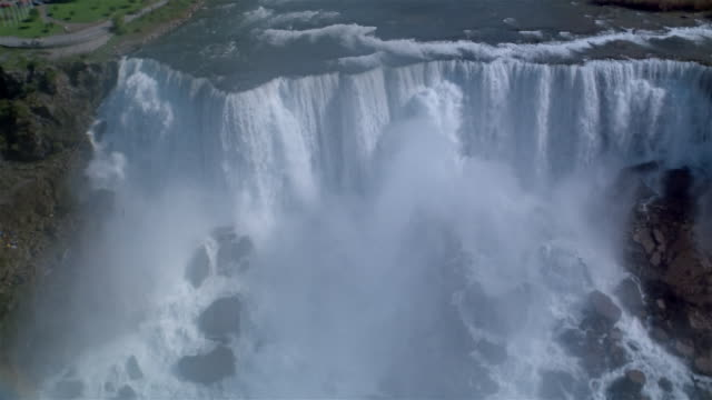 aerial, rainbow above niagara falls, usa/canada  - niagara falls stock videos and b-roll footage