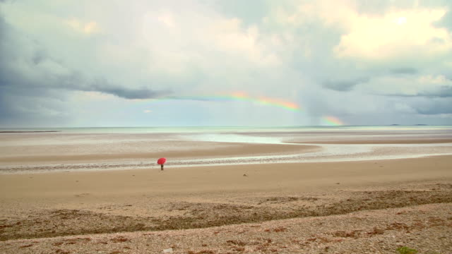 rainbow above sandy beach - normandy stock videos and b-roll footage